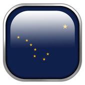 Alaska State Flag square glossy button — Stock Photo