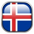 Iceland Flag square glossy button — Stock Photo #50900135