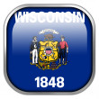 Wisconsin State Flag square glossy button — Stock Photo #50900701