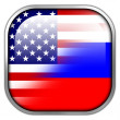 USA and Russia Flag square glossy button — Stock Photo #50900745
