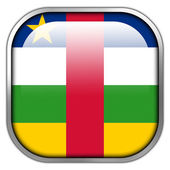 Central African Republic Flag square glossy button — Stock Photo