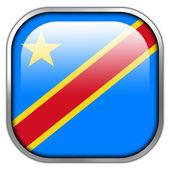 Democratic Republic of the Congo Flag square glossy button — Stock Photo