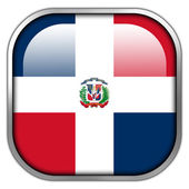 Dominican Republic Flag square glossy button — Stock Photo