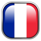 France Flag square glossy button — Stock Photo