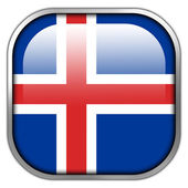 Iceland Flag square glossy button — Stock Photo
