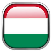 Hungary Flag square glossy button — Stock Photo