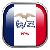 Iowa State Flag square glossy button — Stock Photo
