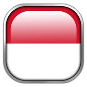 Indonesia Flag square glossy button — Stockfoto
