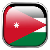Jordan Flag square glossy button — Stock Photo