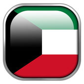 Kuwait Flag square glossy button — Stockfoto