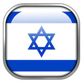 Israel Flag square glossy button — Stockfoto