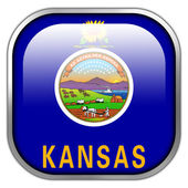 Kansas State Flag square glossy button — Stock Photo