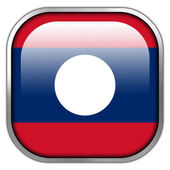 Laos Flag square glossy button — Stock Photo
