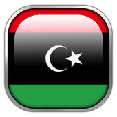 Libya Flag square glossy button — Stockfoto