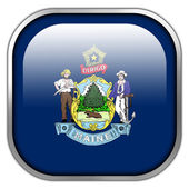 Maine State Flag square glossy button — Stock Photo