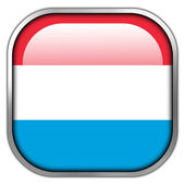 Luxembourg Flag square glossy button — Stockfoto