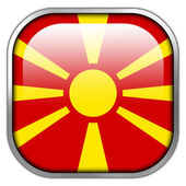 Macedonia Flag square glossy button — Stockfoto