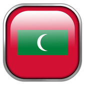 Maldives Flag square glossy button — Stock Photo