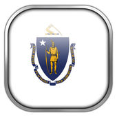 Massachusetts State Flag square glossy button — Stock Photo