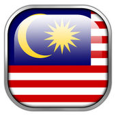 Malaysia Flag square glossy button — Stockfoto
