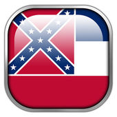 Mississippi State Flag square glossy button — Stockfoto