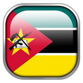 Mozambique Flag square glossy button — Stock Photo