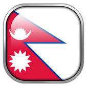 Nepal Flag square glossy button — Stockfoto