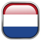 Netherlands Flag square glossy button — Stock Photo