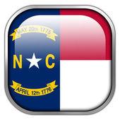 North Carolina State Flag square glossy button — Stock Photo