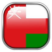 オマーンの国旗スクエア光沢のあるボタン — ストック写真