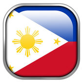 Philippines Flag square glossy button — Stock Photo