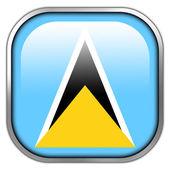 Saint Lucia Flag square glossy button — Stock Photo