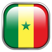 Senegal Flag square glossy button — Stock Photo