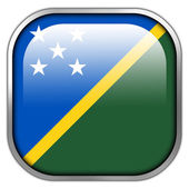 Solomon Islands Flag square glossy button — Stock Photo
