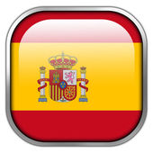 Spain Flag square glossy button — Stockfoto