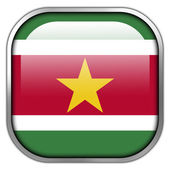 Suriname Flag square glossy button — Stock Photo
