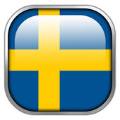 Sweden Flag square glossy button — Stockfoto