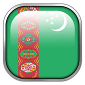 Turkmenistan Flag square glossy button — Stock Photo