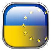 Ukraine and EU Flag square glossy button — Stock Photo