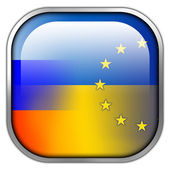 Ukraine, EU and Russia Flag square glossy button — Stock Photo