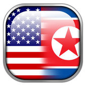USA and North Korea Flag square glossy button — Stock Photo