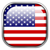 USA Flag square glossy button — Stockfoto