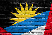 Antigua and Barbuda Flag painted on brick wall — Stock Photo