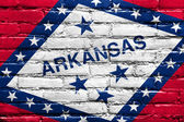 Arkansas State Flag painted on brick wall — 图库照片