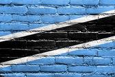 Bandera de botswana pintado en la pared de ladrillo — Foto de Stock