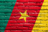 Kamerun-flagge, die auf die wand gemalt — Stockfoto