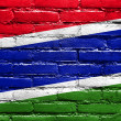 Gambia Flag painted on brick wall — Stock Photo #51579117