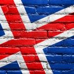 IJsland vlag geschilderd op de muur벽돌 벽에 그려진 아이슬란드 깃발 — Stockfoto #51597547