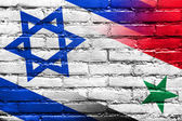 Israel and Syria Flag painted on brick wall — Stock Photo