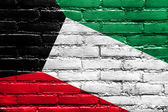Kuwait Flag painted on brick wall — Stock Photo